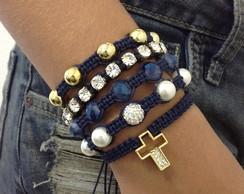 Kit pulseiras crucifixo azul marinho