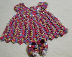 Vestido e Sapatinho de Croch� - Beb�
