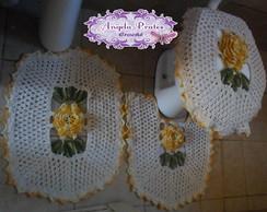 Jogo de banheiro flor amarela