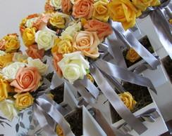 Topiara de rosas & fita prata III