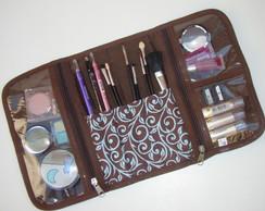 Porta Maquiagem arabesco marrom com azul