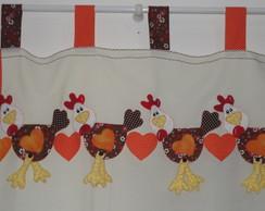 Cortina de cozinha galinhas patchaplique