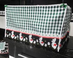 Capa para microondas - xadrez verde