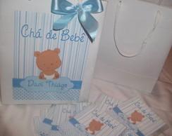 Convite De Ch� De Beb� Urso Menino