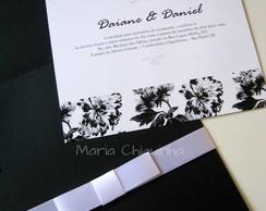 Convite de Casamento Floral P&B