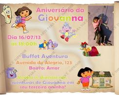 Arte De Convite Mapa Dora Aventureira