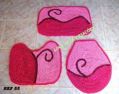 Jogo de banheiro duas cores rosa e pink