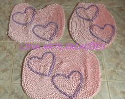 Tapetes Jogo De Banheiro cora��es rosa