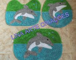 Jogo Banheiro golfinho fundo duas cores
