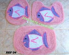 Jogo Banheiro peixinho fundo rosa