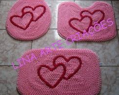 Jogo de banheiro dois cora��es rosa