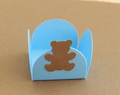 Forminha urso marrom e azul