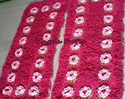 Par tapetes franja pink com 1 metro