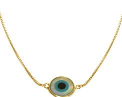 Colar olho grego madrep�rola - dourado