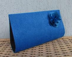 Clutch Pel�cia Azul com Flor