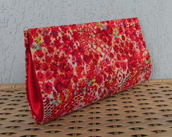 Clutch Renda Estampada Vermelha