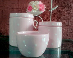 Kit rosa com po� - Potes e Molhadeira