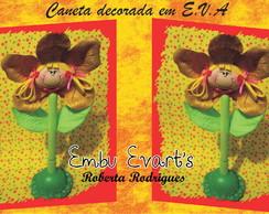 Caneta decorada em eva menina flor
