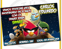 24 Convites Angry Birds Space 10X14,5cm