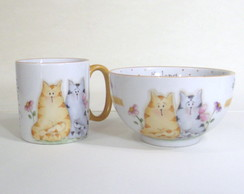 "Kit ""Casal de gatos"" 2 pe�as"