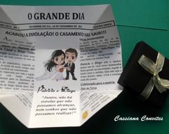 Convite Casamento Jornal Preto c/ La�o