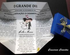 Convite Casamento Jornal Azul c/ La�o