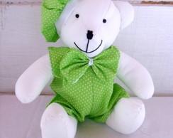 """Ursinho Verde e Branco """"M"""""""
