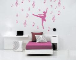 Adesivo Parede Bailarina notas musicais
