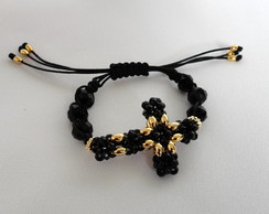 Shambala Crucifixo Cristais Pretos