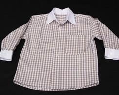 Camisa Manga Longa Xadrez Bege