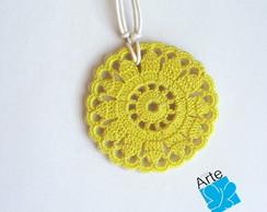 Colar FLOR AMARELA Crochet no Biscuit