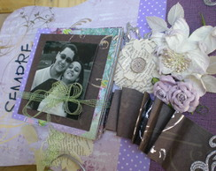 Painel scrap decor com mini �lbum.