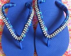 chinelo decorado fio e stras