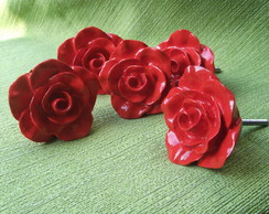 Puxador Rosa proven�al Vermelha