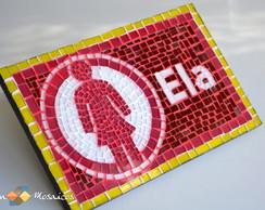 Placa Indicativa Para Banheiro Mosaico