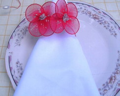 Porta-guardanapo flores de meia de seda