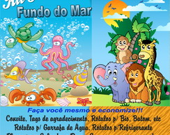 Kit Festa Safari, Zoo ou Fundo do Mar