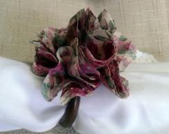 Porta guardanapo flor tecido rose
