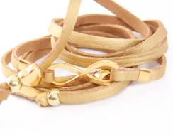 Pulseira Couro Dourado Infinito Dourado