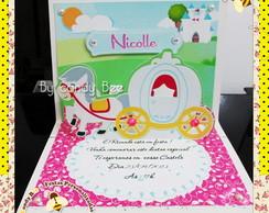 Convite 3d Pop Up Carruagem Princesas