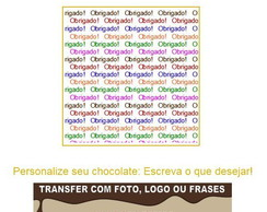 Transfer chocolate Obrigado!
