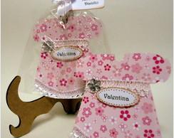 Convite ch� - vestido rosa flor