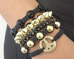 Kit pulseiras s�mbolo da paz