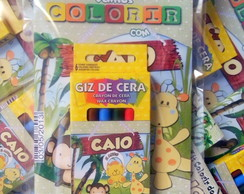 Kit Colorir Pocket C/ Giz De Cera Safari