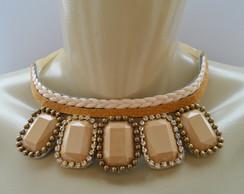 Maxi colar Bege de Pedras