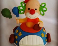 Palha�o no carrinho- Topo de Bolo
