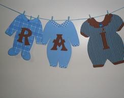Varal De Roupinhas De Beb� Marrom E Azul