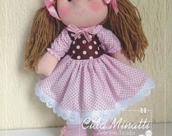 Boneca marrom e rosa