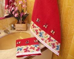 Conjunto toalhas banho e rosto Borboleta