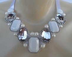 Maxi colar Branco de Pedrarias